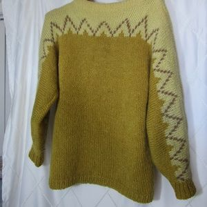 Mustard Hand Knit Wool Sweater